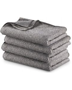 GRAY WOOL BLEND BLANKETS 4 PACK