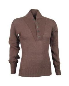Genuine GI 100% Wool Brown 5 Button Sweater