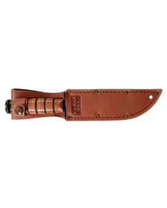SHORT USA KA-BAR, SERRATED EDGE /LEATHER SHEATH