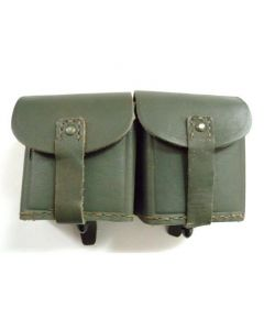 2 Pack of WW2 Italian Leather Double Ammo Pouches