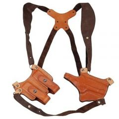 Montezuma® Horizontal Leather Shoulder Holster with Mag Pouch Model 42AS